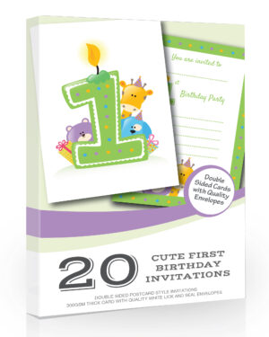 Cute Green First Birthday Party Invitations Pack 20