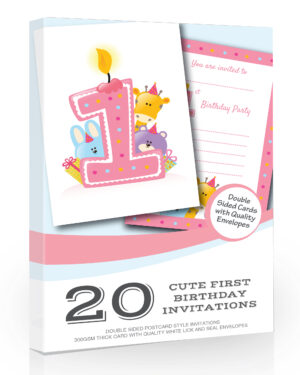 Cute Pink First Birthday Party Invitations Pack 20