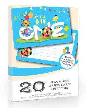 First Birthday The Big One Party Blue Invitations Pack 20