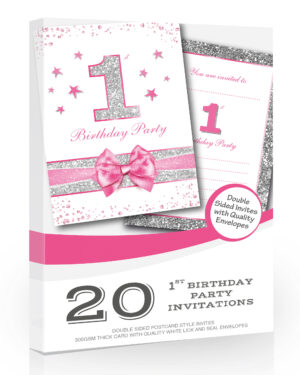 20 x First Birthday Party Invitations - Baby Girl Pink Sparkly Design and Photo Effect Silver Glitter - A6 Postcard Size with envelopes