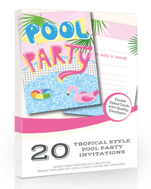 Flamingo Pool Party Invitations Tropical Style Pack 20