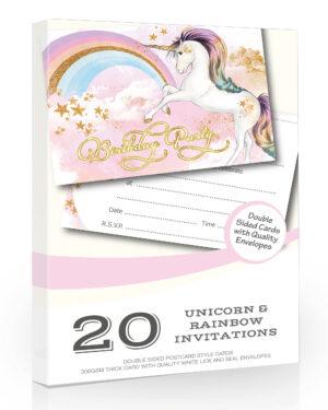 Girls Unicorn Birthday Party Invitations Pack 20