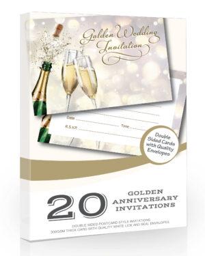 Golden Wedding Anniversary Invitations Pack 20