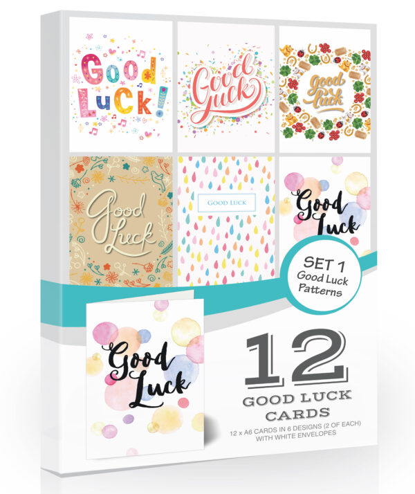 12 x Good Luck Cards by Olivia Samuel - Folding Style Multi Pack with Envelopes
