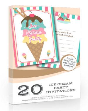 Ice Cream/Gelato Birthday Party Invitations 20 Pack