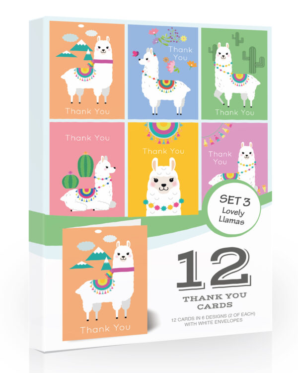 2 x Lovely Llama Thank You Cards Pack - Folding Thanks You Notes with Envelopes by Olivia Samuel™