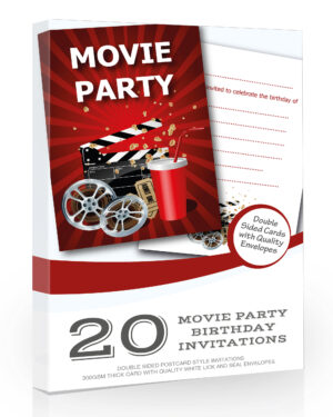 Movie Party Birthday Invitations Pack 20