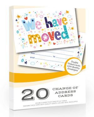 20 x We Have Moved Cards from Olivia Samuel - Change of Address Cards in a Bright Design - Ready to Write with envelopes