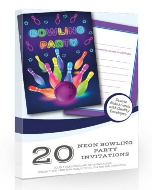 Neon Bowling Party Invitations Pack 20