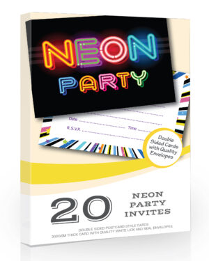 Neon Party Invitations Pack 20