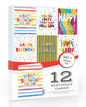 12 x Colourful Birthday Cards Pack & Envelopes by Olivia Samuel™. Great Value Pack of Birthday Cards.