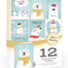 12 x Winter Thank You Cards by Olivia Samuel - Folding Style Multipack - Winter Fun Set with Envelopes