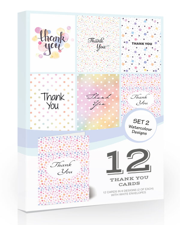 Watercolour Thank You Cards by Olivia Samuel - Folding Style Multipack
