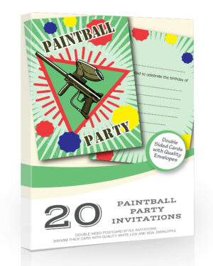 Paintball Birthday Party Invitations Pack-20