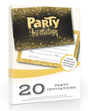 Party Invitations Black and Gold Style 20 Pack