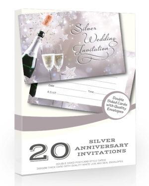 Silver Anniversary Wedding Invitations Pack 20