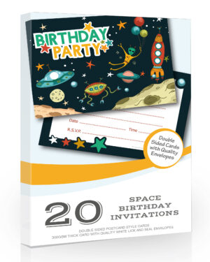 Space Birthday Party Invitations Pack 20