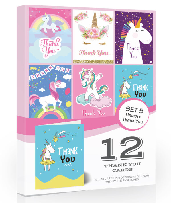 12 x Bright Unicorn Thank You Cards by Olivia Samuel - Folding Style Multipack